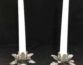 Tapered Candle Holders W/ Flowered Toppers