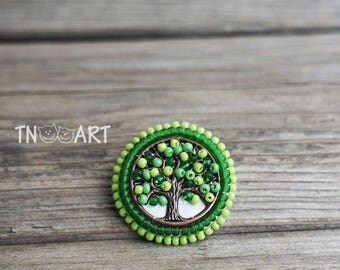Summer Green Life Tree Embroidered Brooch handmade elegant jewelry seed beads embroidery Pin small round brooch