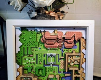Zelda - A Link to the Past Light Map - 3D Shadow Box Diorama (8x8)