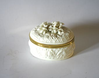 Beautiful Ivory White Floral Design Porcelain Keepsake Cremation Urn Box