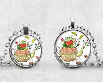 Tea Pot Charm Necklace, Teapot Pendant Jewelry, Glass Cabochon Teapot Watercolor Art, Tea Necklace, Flowered Teapot, Rivulet Amulet