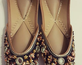 Black Star sequins Punjabi Juttis Khussas Ballerinas shoes flats bridal party wear gypsy boho