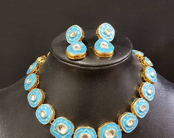 Blue meenkari kundan bridal / non-bridal choker with and earrings set party wear mehendi birthday bridesmaids