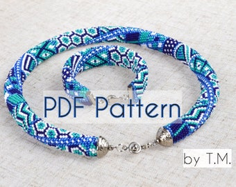 PDF pattern for necklace Bead crochet rope Seed bead pattern Beaded rope pattern Seed bead rope Beadcrochet rope Cheap rope pattern necklace