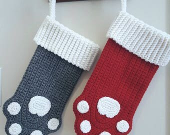 Pet Stocking-Crochet Christmas Stocking-Christmas Stocking-Cat Stocking-Dog Stocking-Christmas Stocking for Cat-Cat Stockings Christmas