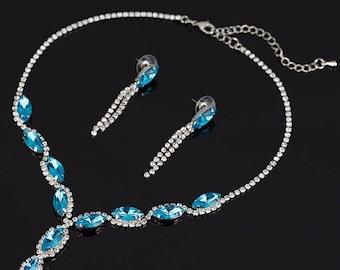 Rhinestone, Crystal, CZ necklace set, wedding bridal jewelry set costume blue turquoise