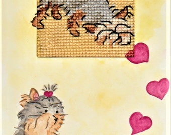 Handmade greeting card, hand-painted with watercolours and hand embroidered with 100% cotton threads, Yorkshire Terrier puppies love