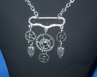 Steampunk cogs, gears and owls  necklace