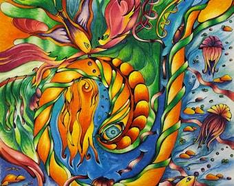 Sea Serpent Original Drawing