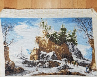 Tapestry - Embroidered pictures - Vintage Embroidered - Hand Made Embroidered - Snow path - Landscape.