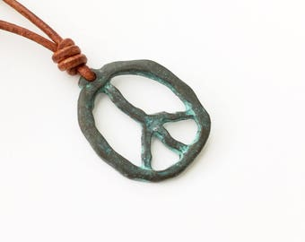 Peace symbol Necklace Mens Necklace Rustic Necklace Greek Necklace Greek Patina Copper Necklace for him Peace Pendant Necklace Mens Jewelry