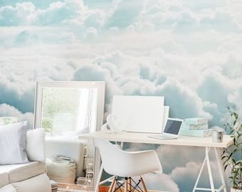Removable Mural //Peel & Stick // Repositionable // Pastel // Easy and Fast Remove  // Clouds SKY // BLUE SKY // Nature // Sky #009