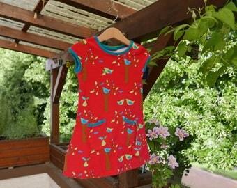 Girls Dress Summer 2T Lillestoff short sleeve birds tree pear pink Stoffregen