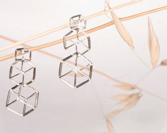 CUBE earrings n4. Silver 925ml