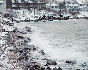 Photography Wall Art Print Winter Coastal Maine Ocean Shore Waves Beach House Nautical Snow Icy Water Ice Monotone Black White Nature
