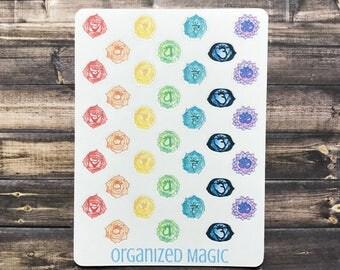 chakra planner stickers, spiritual stickers, mindful stickers, energy stickers, meditation stickers