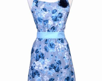 FREE SHIPPING Women's Apron in Shades of Blue has Deep Side pockets available in Limited Quantity a Womens Cute and Feminine Retro Apron