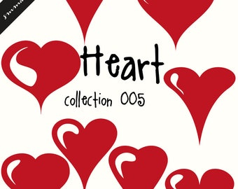 Heart Clipart, Digital Heart Clipart, Red Gold Heart Clipart, Heart Labels, Christmas Hearts Clip Art, Love Clipart, Valentine Clipart H005