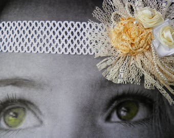 Hair accessories, beige and white shabby chic headband baby,  girl headband baby, newborn , headbands flower headband, baby bows