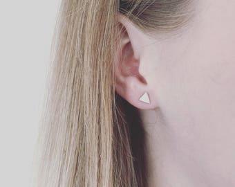 Mini Triangle Stud Earrings - Sterling Silver - Handmade
