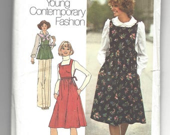 Vintage 1976 Pattern Simplicity 7372, Misses Jumper, top, and blouse, Young Contemporary Fashion. Retro 70's  Size 8 bust 31-1/2