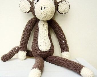Free Shipping, Crochet Monkey Toy, Brown Crochet Monkey, Stuffed Monkey Toy, Crochet Toys,  Crochet Stuffed Animals, Monkey Soft Toy