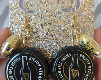 Recycled Bottle Cap Earrings- Guinness Beer