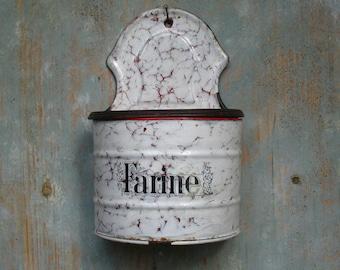 Kitchen storage canister, Farine, French enamel, 1910s