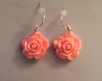 Cute handmade rose flower earrings