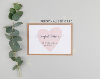 Personalised Congratulations On Your Wedding Day - Congratulations Mr & Mrs - Wedding Day Card - Mr and Mrs Card - Personalised Wedding Gift