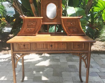 Vintage Bamboo Pagoda Vanity Table/ Desk with Mirror / Chinoiserie/ Hollywood Regency / Asian Style