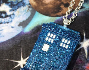 Tardis Doctor Who Glitter Resin Pendant