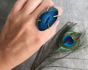 Bohemian agate gemstone statement ring, Gemstone ring, Raw stone ring, Blue stone ring, Bridesmaid gift, Bridal party gift, gift for her