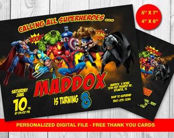 Superheroes Invitation, Superhero Avengers Birthday Invitation, Avengers Invitation, Boy Invitation,Superheroes,   Free thank you cards
