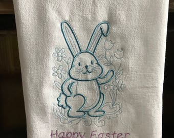 Kitchen Flour Sack Towel, Easter Bunny, Happy Easter Rabbit Machine Embroidery, Holiday, Kitchen Linens, towels, cottontail, custom colors