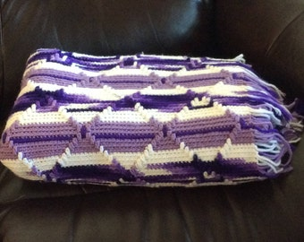 Afghan / Throw / Purple / Lavendar / White / 63 x 42 inches