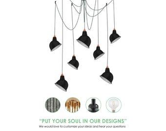 7 Metal Shade Pendant Lights. Industrial Pendant Light. Vintage Lampshade. Enamel Shade Pendant.