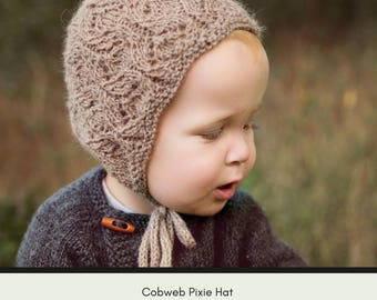 Knit bonnet pattern, pixie baby, pixie bonnet pattern, Baby Pixie Hat Pattern, baby hat pattern, knit pattern, hat knit pattern, Cobweb