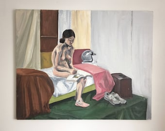 Woman Reading and Waiting Painting Oil