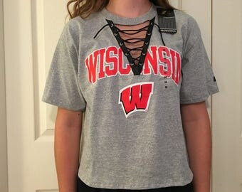 Wisconsin Badgers lace-up tee