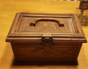 Vintage Lerner's Sewing Box Carved Wood look plastic