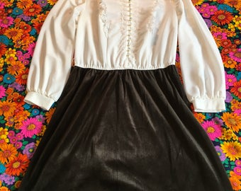 Vintage Black Velvet and White Pearl Button Blouse Two in One Long Sleeved Dress 70s
