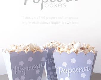Popcorn Boxes | Printable | Party | Movie Night | DIY Popcorn Box | Food Box | Party Food Box | Digital Download | Party Supplies | Retro