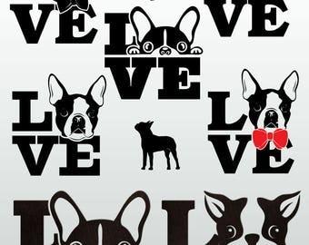 Boston Terrier Dog Love Digital Cut Files Svg Dfx Eps Png Silhouette SCAL Cricut Motivational Download DIY Paper Vinyl Die Cutting JB-762