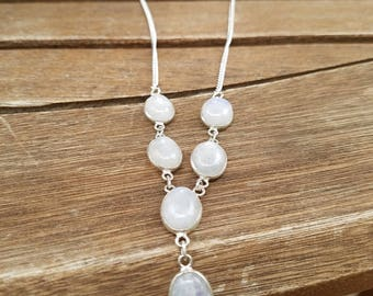 Rainbow Moonstone Y Necklace