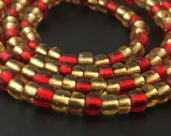 Clear Red and Champagne Gold African Waist Beads