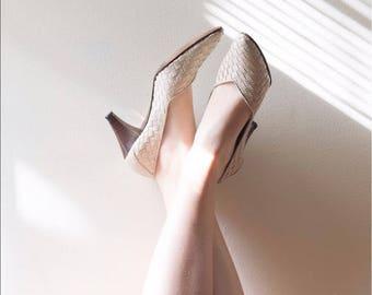 Vintage Woven Caressa Heels