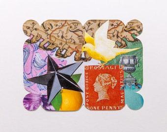 multi-coloured, original paper collage