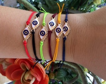 evil eye bracelet- evil eye jewelry- protection bracelet- friendship bracelet-red string bracelet-blue evil eye- big eye- minimal bracelet