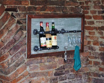 "Wall wine rack ""Dadde"" - Industrial wine rack - Pipe wine rack - Kitchen Decor - Industrial pipes"
